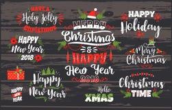 Insieme progettazioni di iscrizione del buon anno e di Natale Fotografia Stock