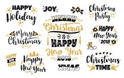 Insieme progettazioni di iscrizione del buon anno e di Natale Immagini Stock