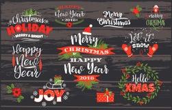 Insieme progettazioni di iscrizione del buon anno e di Natale Immagini Stock Libere da Diritti