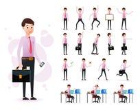 Insieme pronto per l'uso carattere maschio dell'impiegato del 2D che indossa condizione lunga del legame e della manica illustrazione di stock