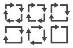 Insieme quadrato dell'icona delle frecce Fotografia Stock