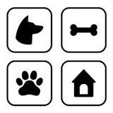 Insieme quadrato delle icone del cane Testa di cane, zampa, osso, casa di cane Vettore illustrazione vettoriale