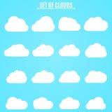 insieme Raccolta delle nuvole leggere di bianco nel cielo blu Illustrazione di vettore in uno stile piano Immagine Stock