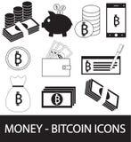 Insieme, raccolta o pacchetto dell'icona cripto di valuta di Bitcoin, logo o Fotografie Stock