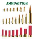Insieme reale di molti tipi di vettori delle munizioni della pistola illustrazione di stock