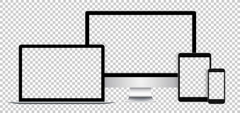 Insieme realistico degli apparecchi elettronici, dell'esposizione nera, del computer portatile, della compressa e del telefono co