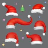 Insieme realistico dei cappelli di Santa Colllection del cappuccio di natale del Babbo Natale illustrazione di stock
