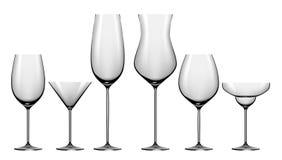 Insieme realistico dei vetri per le bevande dell'alcool Fotografia Stock Libera da Diritti