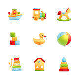 Insieme realistico dell'icona dei primi giocattoli del bambino Fotografia Stock Libera da Diritti
