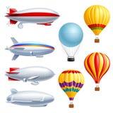 Insieme realistico dell'icona del dirigibile illustrazione vettoriale