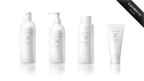 Insieme realistico della bottiglia Modello cosmetico di marca Immagini Stock