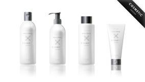 Insieme realistico della bottiglia Modello cosmetico di marca Fotografia Stock