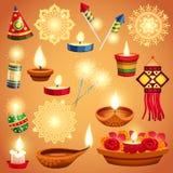 Insieme realistico di Diwali illustrazione vettoriale