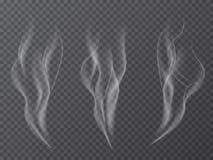 Insieme realistico di effetto del fumo di vettore isolato su fondo trasparente Fotografia Stock
