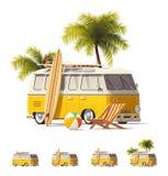 Insieme realistico di vintage hippie van icon di vettore illustrazione vettoriale