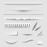 Insieme realistico a quadretti trasparente dei bordi di carta Immagine Stock