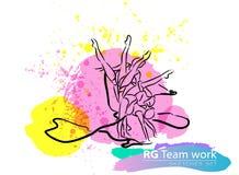Insieme relativo alla ginnastica ritmico artistico di schizzo del gruppo di vettore Immagini Stock Libere da Diritti