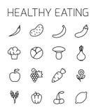 Insieme relativo dell'icona di vettore di cibo sano Immagine Stock Libera da Diritti
