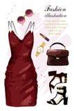 Insieme romantico dell'abbigliamento di sera I vestiti di modo hanno messo con il vestito, le scarpe, la borsa, il rossetto, gli  illustrazione di stock