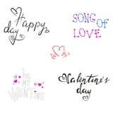Insieme romantico dell'iscrizione di giorno di biglietti di S. Valentino Immagini Stock