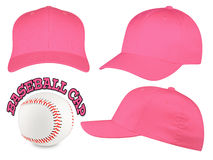 Insieme rosa del berretto da baseball Fotografia Stock