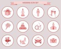 Insieme rosa dell'icona degli elementi di nozze illustrazione vettoriale