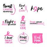 Insieme rosa di citazione di tipografia di consapevolezza del cancro al seno Immagine Stock