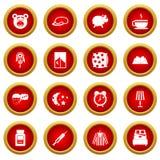 Insieme rosso del cerchio dell'icona di sonno Immagini Stock Libere da Diritti