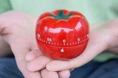 Insieme rosso del temporizzatore della cucina del pomodoro a 0, tenuto da entrambe le mani, con le palme aperte immagine stock libera da diritti