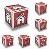 Insieme rosso dell'icona della casella Fotografie Stock Libere da Diritti