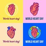 Insieme rosso dell'insegna di giorno del cuore del mondo, stile disegnato a mano illustrazione di stock