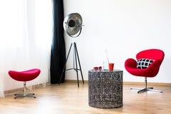 Insieme rosso della mobilia immagini stock libere da diritti