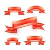 Insieme rosso dettagliato realistico del rotolo del nastro di vettore Fotografia Stock