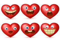 Insieme rosso di emoji del carattere del cuore del fumetto divertente Immagini Stock Libere da Diritti
