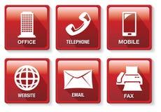 Insieme rosso e bianco del bottone dell'icona di vettore di metodo del contatto di affari Fotografie Stock