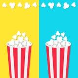 Insieme rotondo del contenitore di secchio del popcorn Icona del cinema di film nello stile piano di progettazione Schioccare del royalty illustrazione gratis