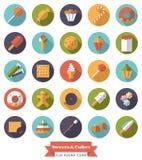 Insieme rotondo dell'icona di progettazione piana dei dolci e dei dolci Fotografia Stock
