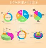 Insieme rotondo di infographics del grafico della torta, variopinto Immagine Stock