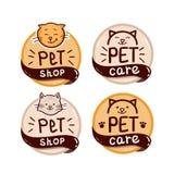 Insieme rotondo di logo con il negozio di animali del testo e del gatto fotografia stock libera da diritti