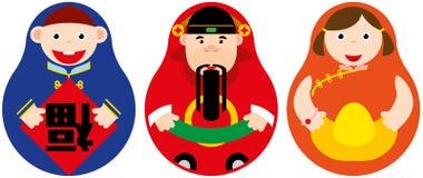 Insieme russo della bambola di fortuna cinese Immagini Stock Libere da Diritti