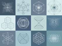 Insieme sacro di simboli e di elementi della geometria Fotografia Stock