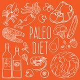 Insieme sano dell'illustrazione di vettore di dieta di alimento degli INGREDIENTI di PALEO immagini stock libere da diritti