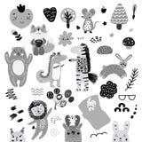 Insieme scandinavo del modello degli elementi di scarabocchi dei bambini dell'animale selvatico e dei caratteri monocromatici sve royalty illustrazione gratis
