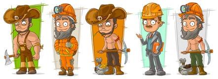 Insieme scavatore di vettore del carattere del boscaiolo del fumetto illustrazione vettoriale