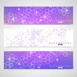 Insieme scientifico delle insegne moderne di vettore Struttura della molecola del DNA con le linee ed i punti collegati Fondo di  royalty illustrazione gratis