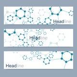 Insieme scientifico delle insegne moderne di vettore Struttura della molecola del DNA con le linee ed i punti collegati Fondo di  illustrazione di stock