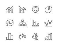 Insieme segnato dell'icona del diagramma e del grafico. royalty illustrazione gratis