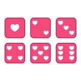 Insieme a sei facce dei dadi del cuore piano e rosa illustrazione vettoriale
