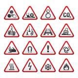 Insieme semplice dei segni di rischio d'avvertimento triangolari Fotografie Stock