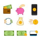 Insieme semplice del grafico dell'illustrazione di vettore di simbolo di investimento di Bitcoin Fotografie Stock Libere da Diritti